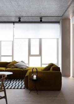 designer : S. Gotvyansky M. Deco Furniture, Upholstered Furniture, Room Interior Design, Interior Styling, Living Room Inspiration, Interior Inspiration, Estilo Interior, Yellow Interior, Interior Architecture