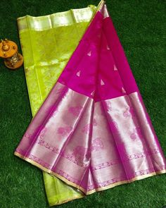 No photo description available. Silk Saree Banarasi, Kuppadam Pattu Sarees, Pure Silk Sarees, Indian Sarees, Traditional Sarees, Traditional Outfits, Saree Trends, Silk Sarees Online, Bridal Outfits