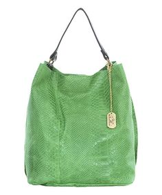 c6098a14b6ec Anna Morellini Green Snakeskin-Embossed Leather Tote