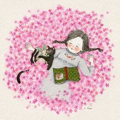 girl, cat and wallpaper image on We Heart It Children's Book Illustration, Illustrations, Jolie Photo, Whimsical Art, Cute Drawings, Cat Art, Watercolor Art, Book Art, Character Design