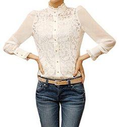 Cnlinkco Ladys Long Sleeve Lace Chiffon Shirt White XXL