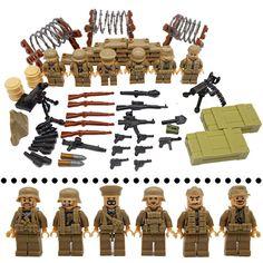 World War II German Military Blocks Soldiers Figures Bricks Model Army Rescue Weapons Building Bricks Toys LegoINGlys. Lego Soldiers, Lego Ww2, Lego Army, Lego Military, Military Diorama, Star Wars Minifigures, Lego Star Wars, Lego Guns, Kids Blocks