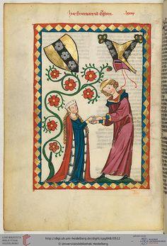 Codex Manesse, Herr Brunwart von Augheim, Fol 258v, c. 1304-1340    (I need a fur lined mantle)