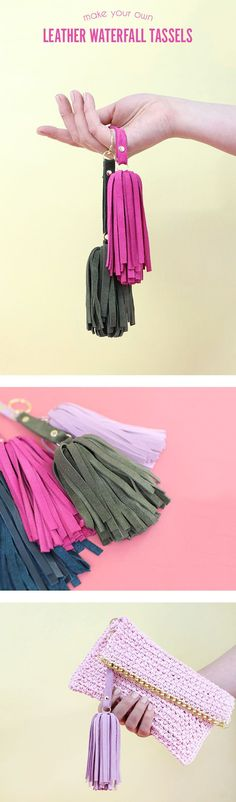 DIY Leather Tassel - these cute floppy suede tassels are fun to make and are a nice little gift. Video tutorial