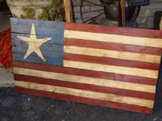 Image Detail for - Rustic Star country decor folk art American Flag by primitivearts