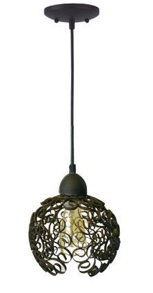 Upcycled iron scroll pendant lamp, created by designer Stephanie Reppas, October Design.