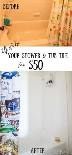DIY tub and tile reglazing project!  Lighten and brighten your bath for about $50 in one weekend! Great way to update a tile shower surround.