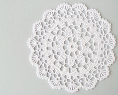 White lace doily table decoration crochet tea by DiaCrochets Free Crochet Doily Patterns, Crochet Mat, Hand Crochet, Lace Doilies, Crochet Doilies, Crochet Flowers, Beginner Crochet Tutorial, Crochet Instructions, Fabric Crafts