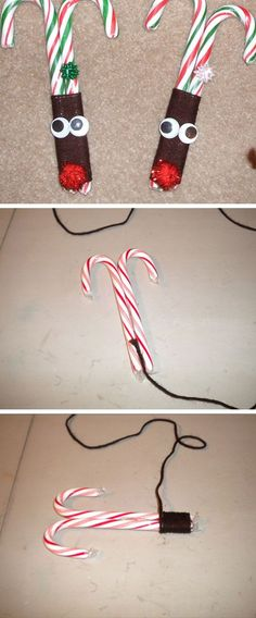 Reindeer Candy Canes | 20+ DIY Christmas Crafts for Kids to Make