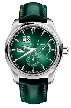 Carl F Buchere Manero PowerReserve - pin green special dial - Perpetuelle