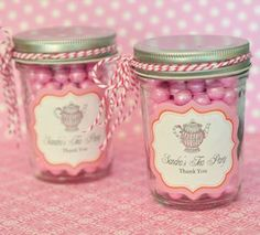 Tea Party Personalized Mini Mason Jars - Bridal Shower Favors