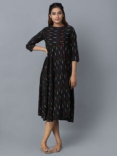 Black Cotton Ikat Dress