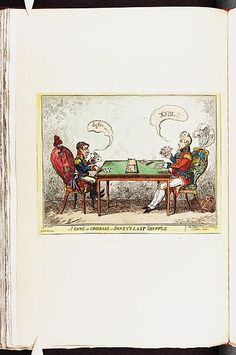 6 June 1814:A game at cribbage or- Boney's last shuffle.Satire on Napoleon's exile to Elba. (British political cartoon) Bodleian Libraries,