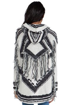 Free People Show Me the Way Fringe Cardigan in Black & White | REVOLVE