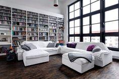 #Library #BigWindows #Sofa #Parquet #LivingRoom