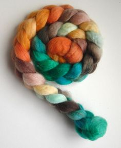 BFL Roving (Top) - Handpainted Spinning or Felting Fiber, Fall Foliage 8