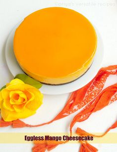 Priya's Versatile Recipes: Eggless Mango Cheesecake with Agar Agar Low Fat Cheesecake, Mango Cheesecake, Cheesecake Recipes, Dessert Recipes, Dessert Ideas, Eggless Desserts, Eggless Baking, Delicious Desserts, Yummy Food