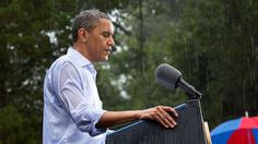 Despite rain at a campaign event in Glen Allen, Va, the President delivered his speech. Obama was supposed to do a series of press interviews inside before his speech, but gave remarks as soon as he arrived onsite since people had been waiting for hours in the rain. Photo courtesy of the White House, Pete Souza