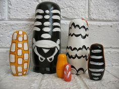 handmade wood folk art toy nesting dolls... Bare by mooshoopork