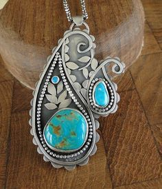 Paisley Pendant with Kingman mine turquoise