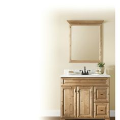 shop style selections collingwood 34in h x 30in w natural rectangular bathroom
