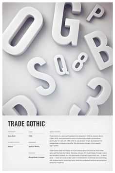 3D Typographic Poster Design Independent multidisciplinary design studio Woodhouse created these stunning type posters of 6 iconic fonts such as: Trade Gothic, Helvetica, Futura, DIN, Clarendon, and Bodoni. The typefaces are depicted as 3D letters...