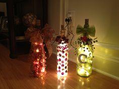 Wine bottles DIY crafts string lights embellishment beautiful