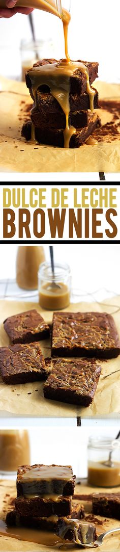 The most intensely fudgy, moist, and chocolatey brownies swirled and drizzled with an easy 3-ingredient dulce de leche sauce you can whip up in minutes!