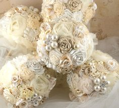 images of bridesmaids bouquets | Bridesmaids Brooch Bouquets Wedding Bouquet in Champagne and Ivory