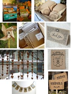 Kraft paper, paper bag wedding invitations, announcements and decorations. #recyclemywedding #recycle #recycleweddingdecor