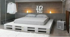 Pallet Furniture Projects Paletten Bett Mehr - a bed in any of king or queen size layout, check out this DIY platform bed scheme which has been displayed by placing in different styles of bedroom interiors. Pallet Bed Frames, Diy Pallet Bed, Wooden Pallet Furniture, Pallet Chair, Pallet Wood, Bed Pallets, Pallet Lounge, Euro Pallets, Pallets Garden