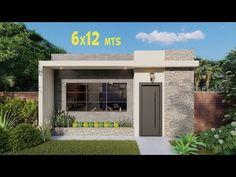 Plano de Casa de 6 x 12 metros | Planos de Casas Pequeñas 🏡 - YouTube Small House Layout, Small Modern House Plans, Modern Barn House, Modern House Facades, Modern Bungalow House, House Layouts, House Outside Design, House Front Design, Small House Design