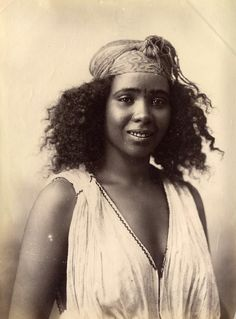Algerian woman, 1870's; How can anyone have looked at a woman like this and thought she was an animal? She's beautiful! But in the 1870's, she would have been a slave....