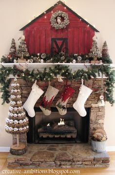 "Rustic Christmas Mantel from DIY user ""Kendra"" >> http://diy.roomzaar.com/rate-my-space/Holidays/Christmas-Mantel-2012/detail.esi?oid=29947678=pinterest"
