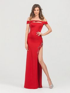 1aa6155e2570 Val Stefani 3469RB includes a sexy cutout at the front neckline and beading  along the high