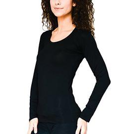 Kefali Damen Langarm Rundhals T-Shirt Body Basic Longsleeve-Shirt (42 44 - XL XXL, Schwarz)