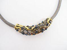 Vintage necklace bronze necklace rhinestones blue by AlbertsAttic