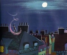 Peter and Tinker Bell fly over the rooftops. Mary Blair!