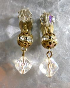 Crystal Brass and Rhinestone Rhondelle Earrings by worn2perfection, $30.00