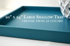 20 x 24 Large Shallow Tray - Choose your Color - Wood Ottoman Tray, Coffee Table Tray