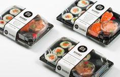 Kuro, a Japanese restaurant and Shiro, ready-made sushi branding. Food Cart Design, Food Menu Design, Takeaway Packaging, Food Packaging Design, Sushi Take, Lunchbox Design, Japanese Snacks, Japanese Takeaway, Food Graphic Design