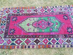 Welcome to our shop; Vintage Anatolian Turkish Oushak Rug, A carpet for you, Totally primitive,vegetable dyes rug which will change your house atmosphere,Hand woven with high quality pure wool Excellent condition rug, washed and cleaned, ready to use at your home or office !Please write me if you have any question.  Size: 33 x 61 FT // 100x187cm  Stock no :5081  Age: 50 Years old  Color : Lovely Color  Material: organic wool and colored by natural paints Style: Turkish  Please consi...