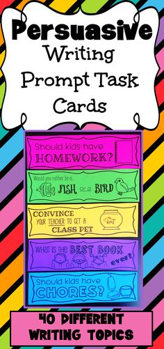 Opinion Writing Prompt Task Cards - Black and White Ink Friendly Persuasive Writing Prompt Task Cards. 40 different topics with 2 opinion planner templates. 40 different topics with 2 opinion planner templates. 5th Grade Writing Prompts, Persuasive Essay Topics, Persuasive Writing Prompts, Writing Prompts For Writers, Picture Writing Prompts, Essay Writing, Opinion Writing Topics, Persuasive Texts, Writing Lab
