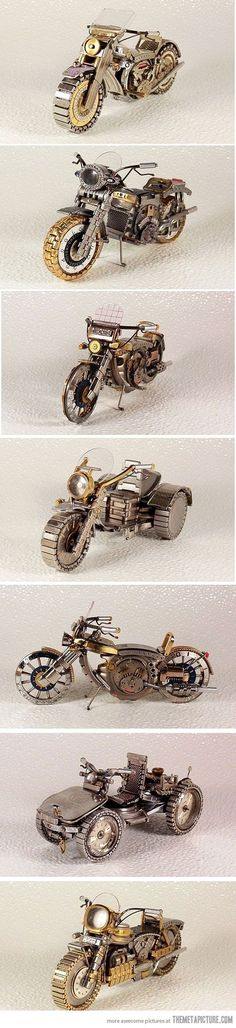 Cool bikes mаdе out of old watches - #steampunk Incredible detail!  I wish I knew the artist. https://www.steampunkartifacts.com/collections/steampunk-wrist-watches