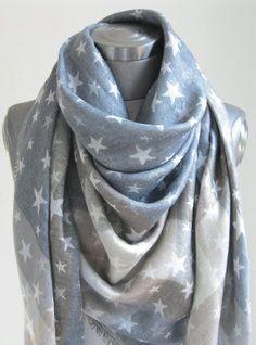 Xl Tuch Schal Sterne Grau Blau Beige Schimmernd