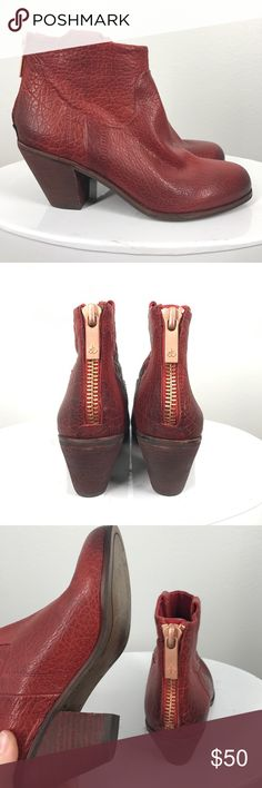 Sam Edelman Lisle red ankle boots size 7 These ankle boots and to die for cute!! Red leather. Lisle style. Like new! The zippers on the back are tight but still zip down. Sam Edelman Shoes Ankle Boots & Booties