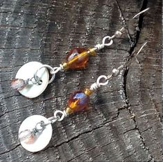 Shell and Amber Crystal Beach Earrings in by TheBlueYonderStudio, $19.00