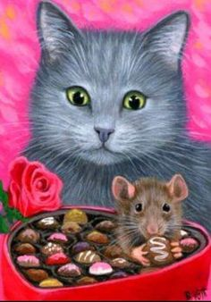 Solve Cat and mouse Valentine. jigsaw puzzle online with 48 pieces Flower Art Drawing, Cat Drawing, Art Fantaisiste, Art Mignon, Cat Clipart, Lion Painting, Funny Animal Photos, Cat Mouse, Cat Cards