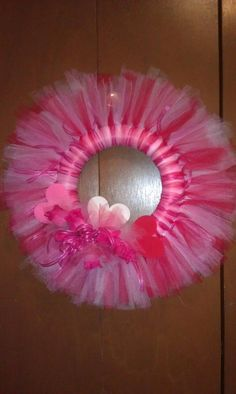 24 Valentine Tulle Wreath with Roses by floralcrafter728 on Etsy, $25.00