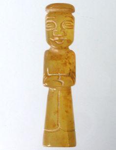 CHINESE Old Jade Hand Multi Side Carved Dynasty Lady Potknot Totem Amulet QZ675
